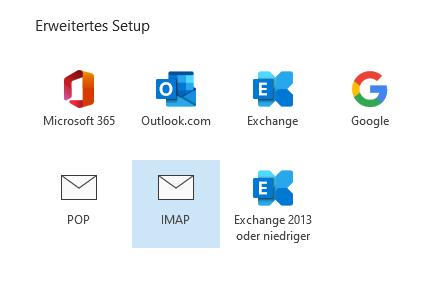 Outlook Einstellungen IMAP im erweiterten Setup auswählen.