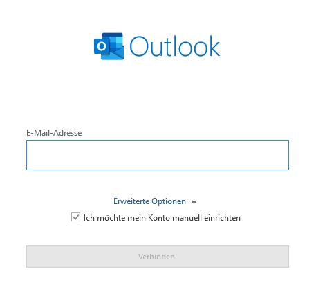 In der Outlook Kontoeinrichtung die E-Mail Adresse hinzufügen.